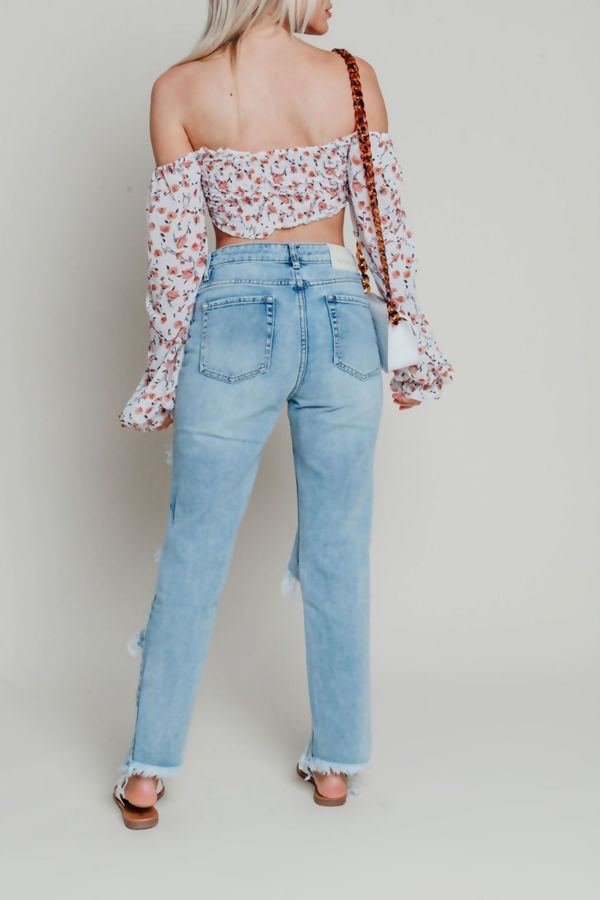 Floral Shirred Balloon Sleeve Crop Top