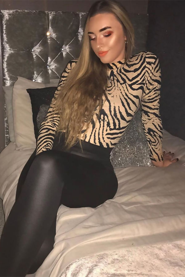 Beige High Neck Leopard Print Fitted Top