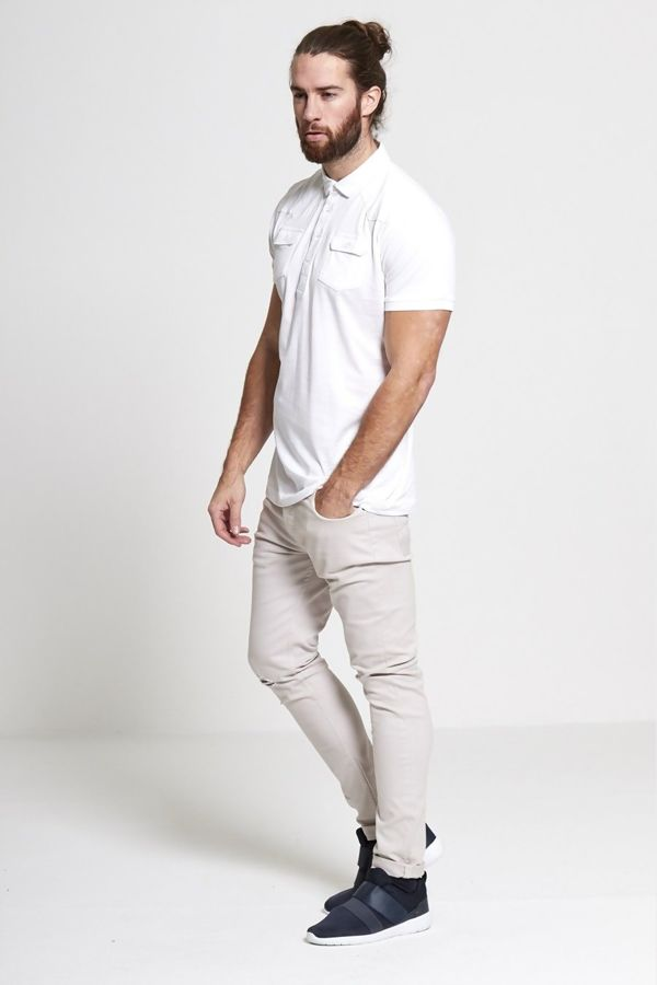 White Pocket Front Polo Shirt