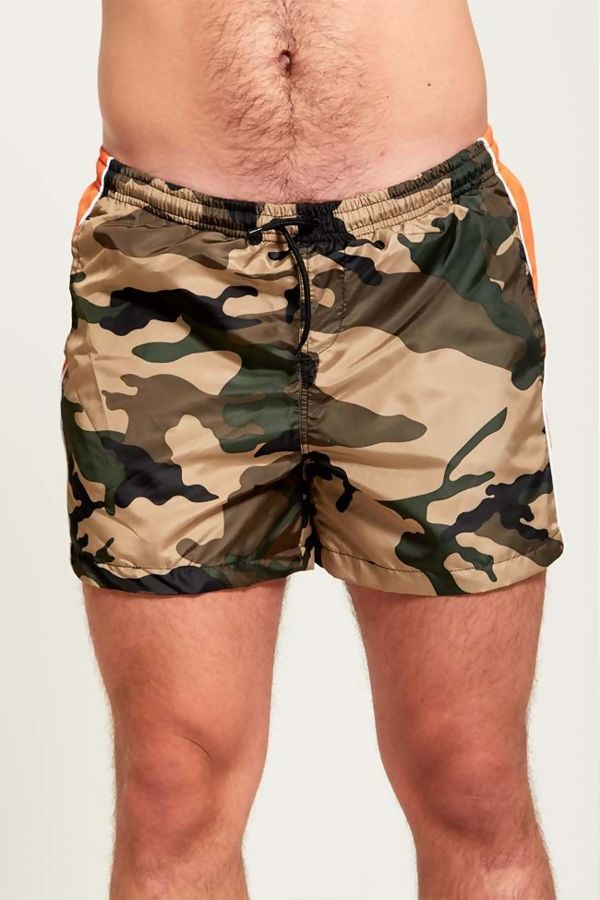 Orange Panel Camo Swim Shorts