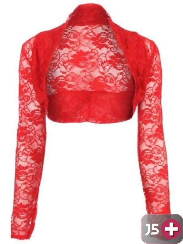 Plus Size Red Cropped Lace Bolero Shrug