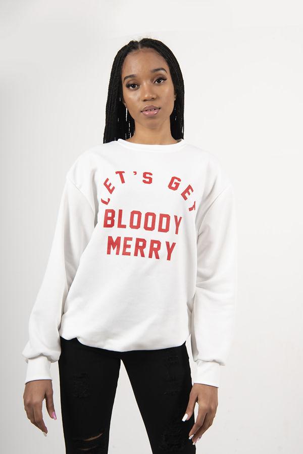 Cream Lets Get Bloody Merry Christmas Sweatshirt