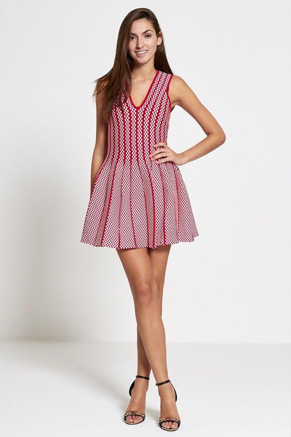 Red Chequered Skater Mini Dress