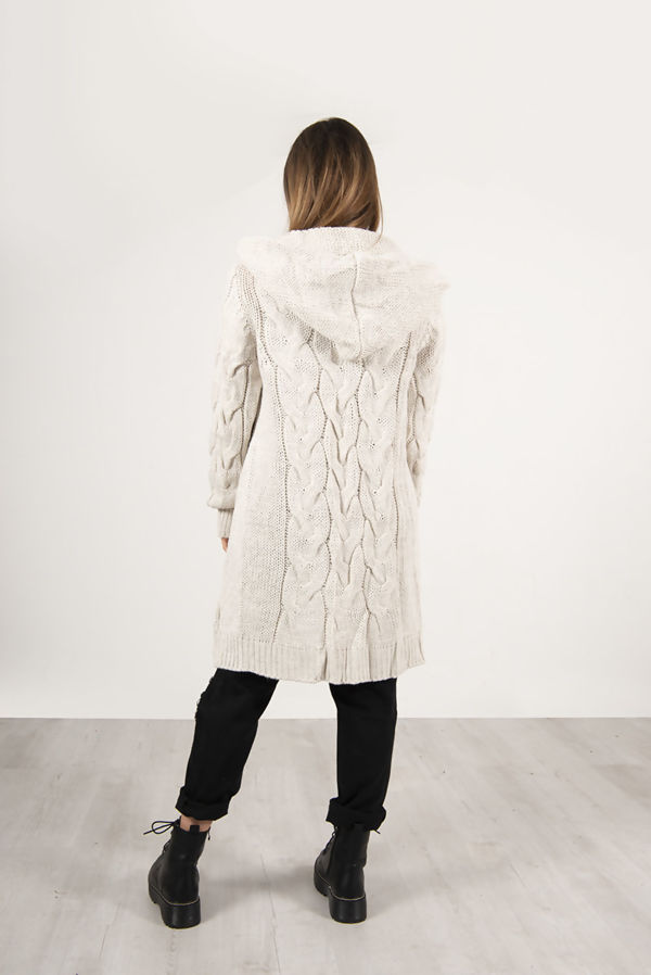 Charcoal Cable Knit Hood Cardigan