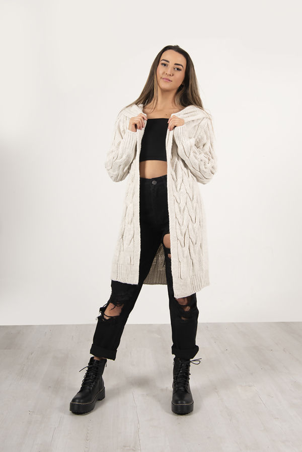 Beige Cable Knit Hood Cardigan PreOrder