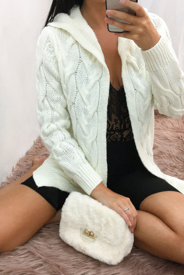 Cream Cable Knit Hood Cardigan