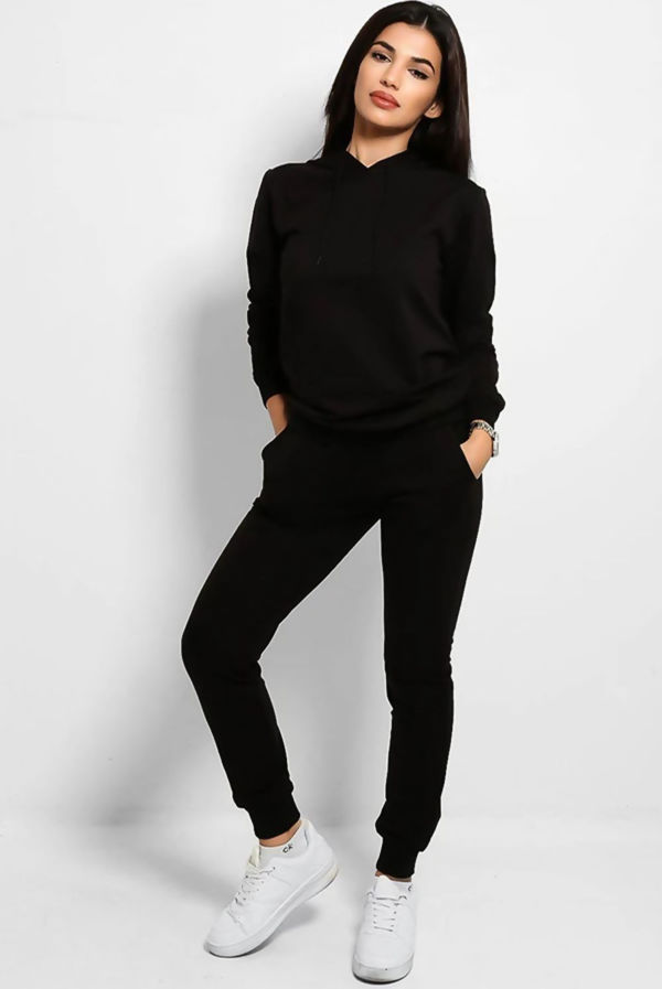 Black Fashion Stole My Soul Hooded Lounge Set