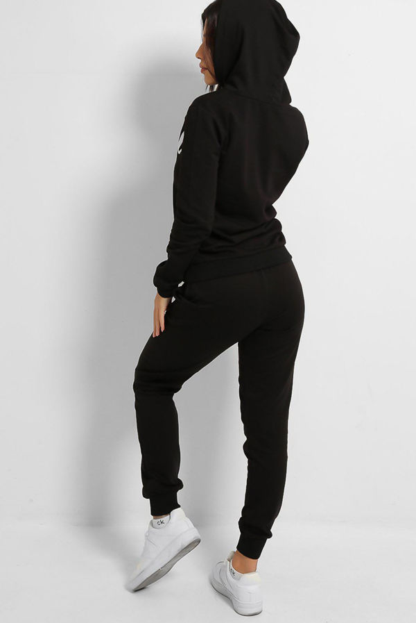 Plus Size Black Angle Hooded Tracksuit
