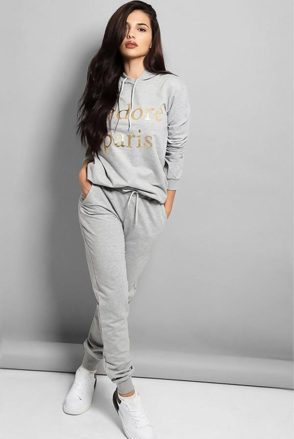 Grey Jadore Paris Hooded Lounge Set