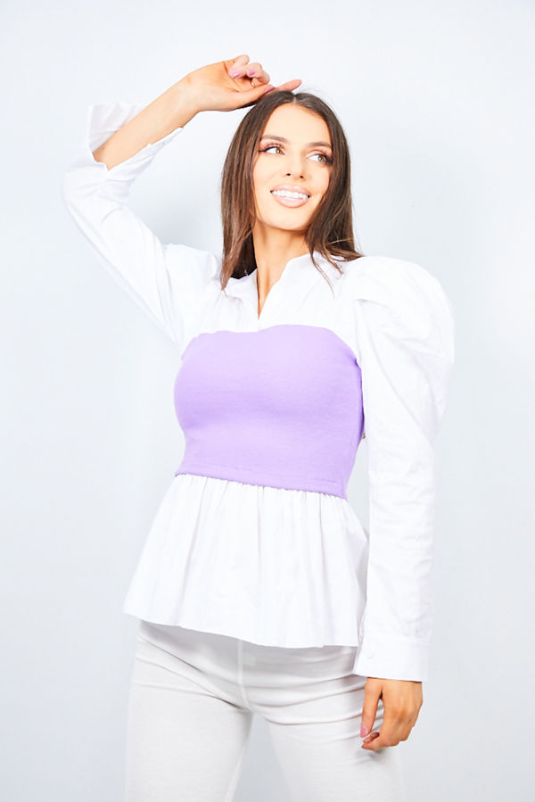 Lilac Ribbed Corset Detail Top