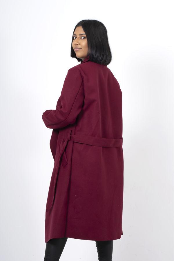 Wine Long Waterfall Duster Coat
