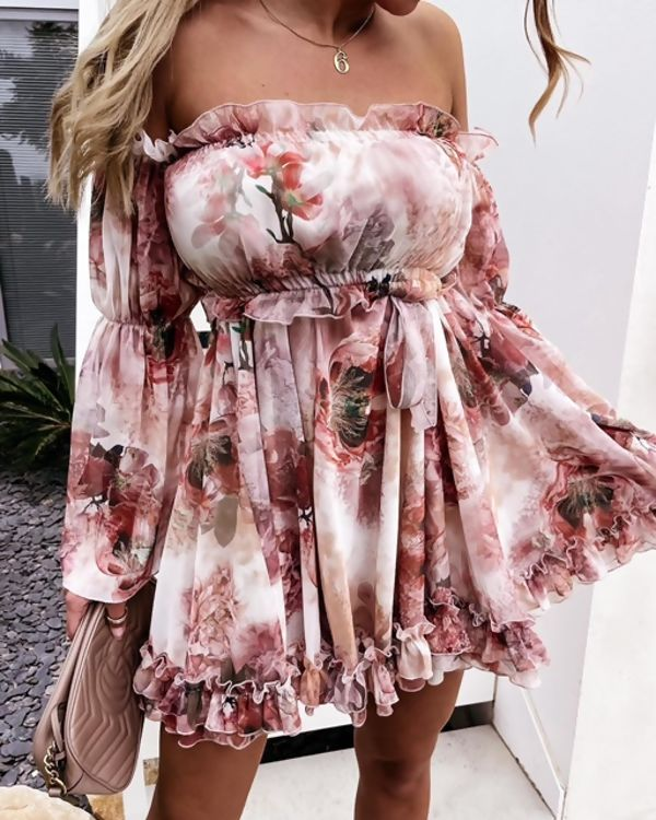 Pink Bradot Floral Ruffle Dress