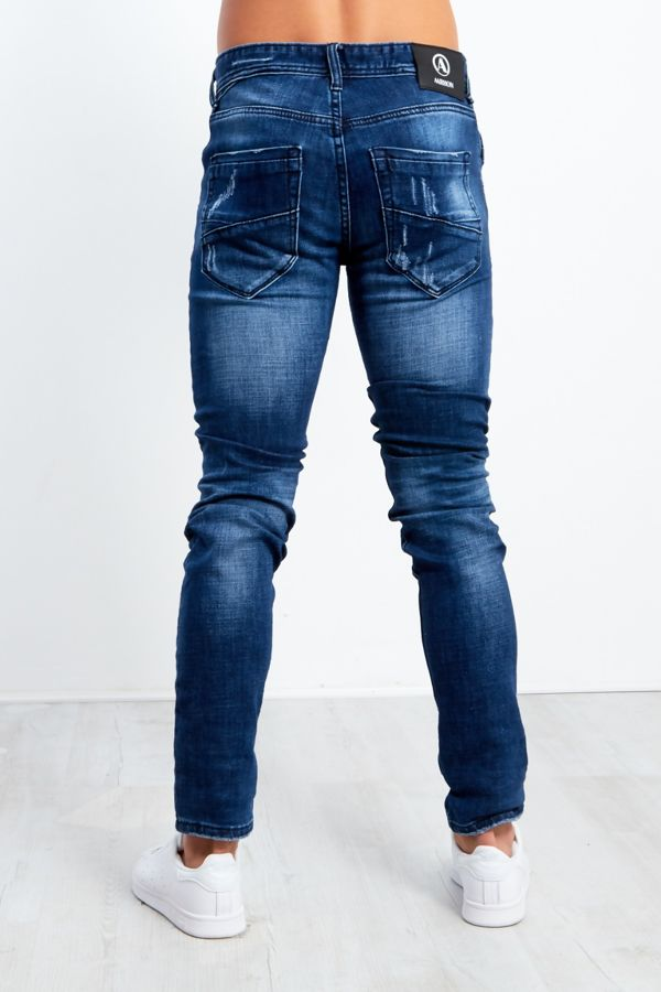 Slim Fit Faded Denim Ripped Jeans