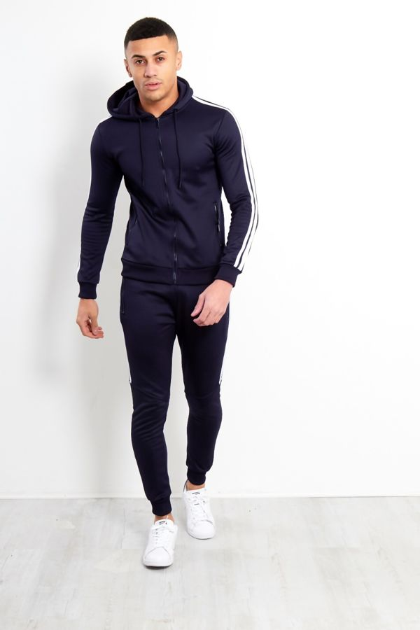 Navy Tape Stripe Hooded Tracksuit