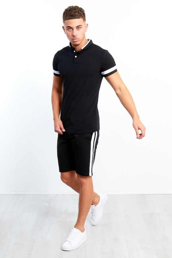 Black Polo Shirt And Shorts Set With White Panel Detailing