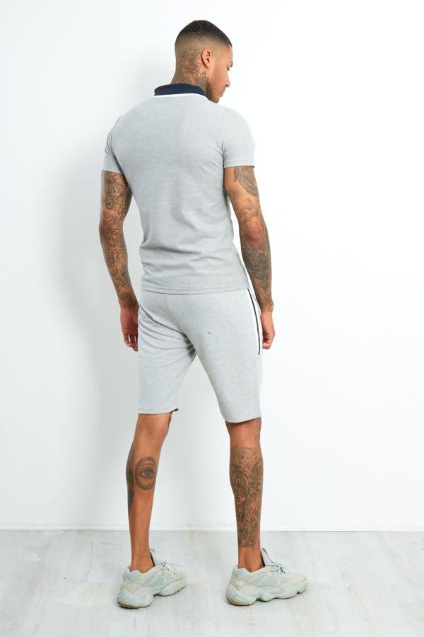 Grey Contrast Panel Polo Shirt And Short Set