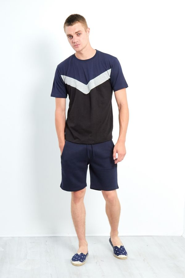 Spliced Panel T-Shirt and Short Set