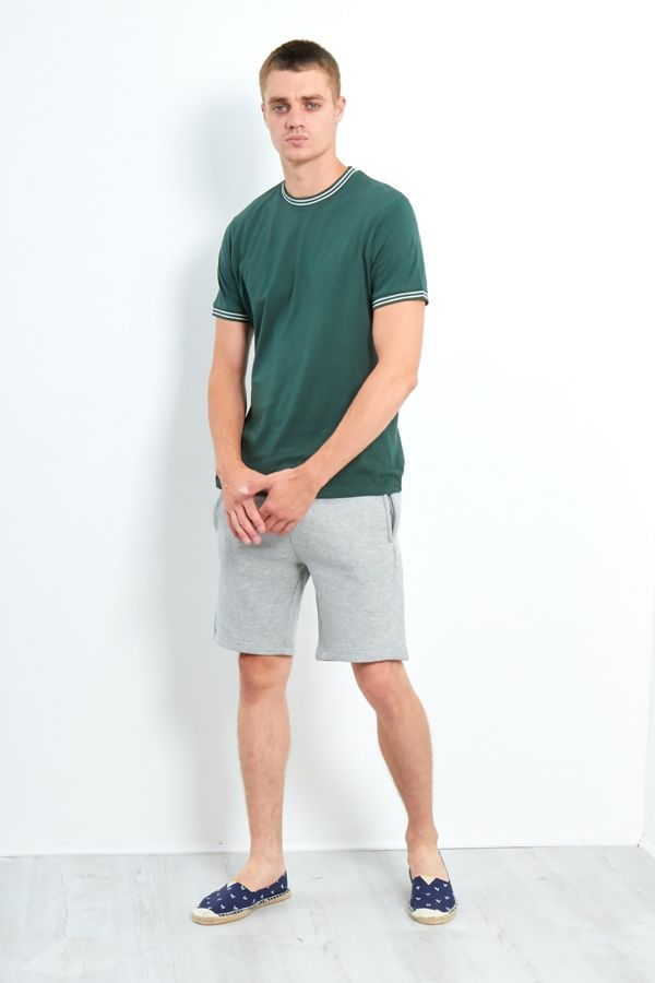 Green Double Stripe Contrast T-Shirt