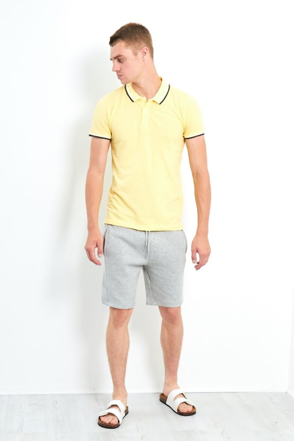 Double Contrast Textured Polo T-Shirt