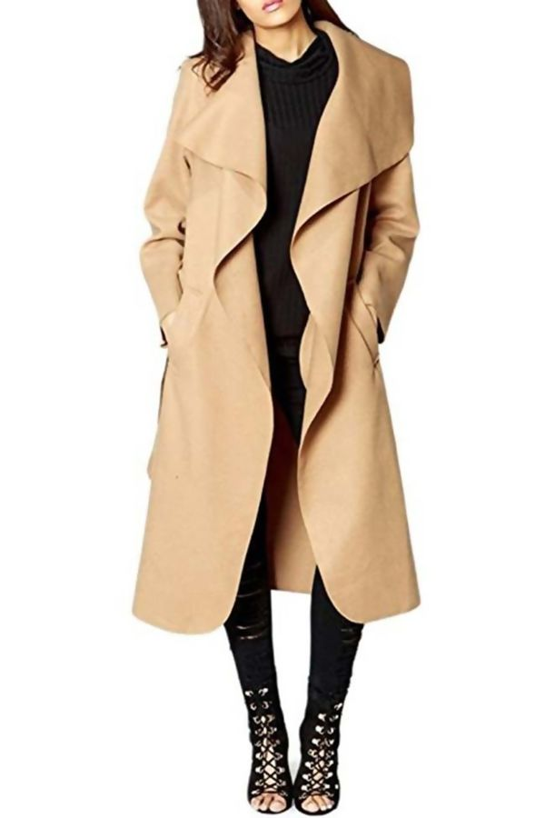 Alisha Pure Gold Camel Draped Long Waterfall Belted Coat