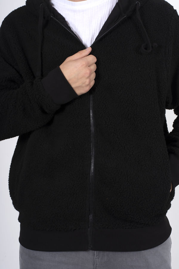 Black Zip Through Hooded Teddy Jacket