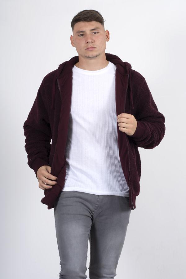 Wine Zip Through Hooded Teddy Jacket