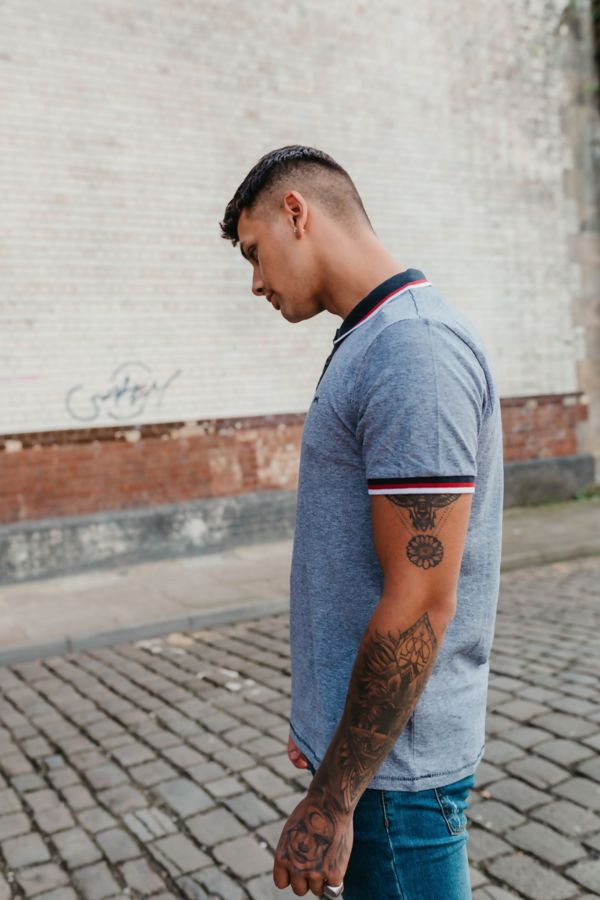 Navy Textured Polo Louis T-Shirt