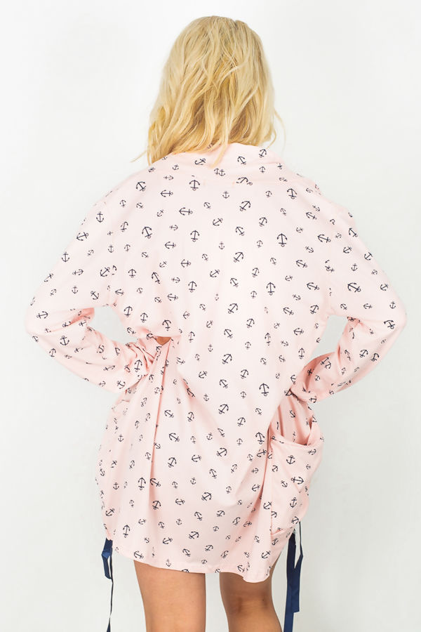 Anchor Print Slouch Pocket Cardigan