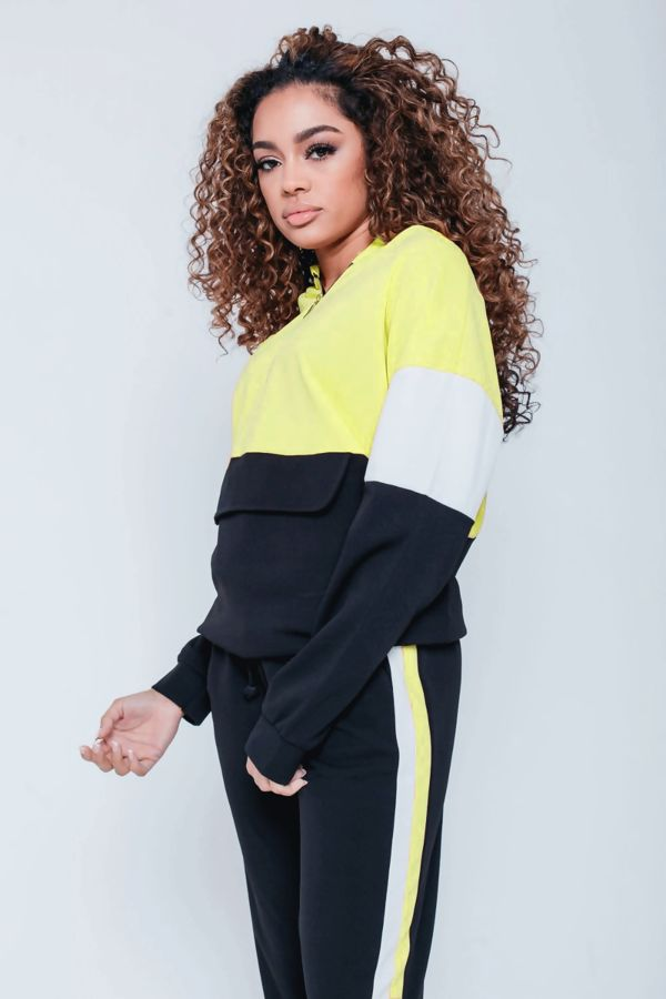 Aqua Pouch Pocket Colour Block Tracksuit