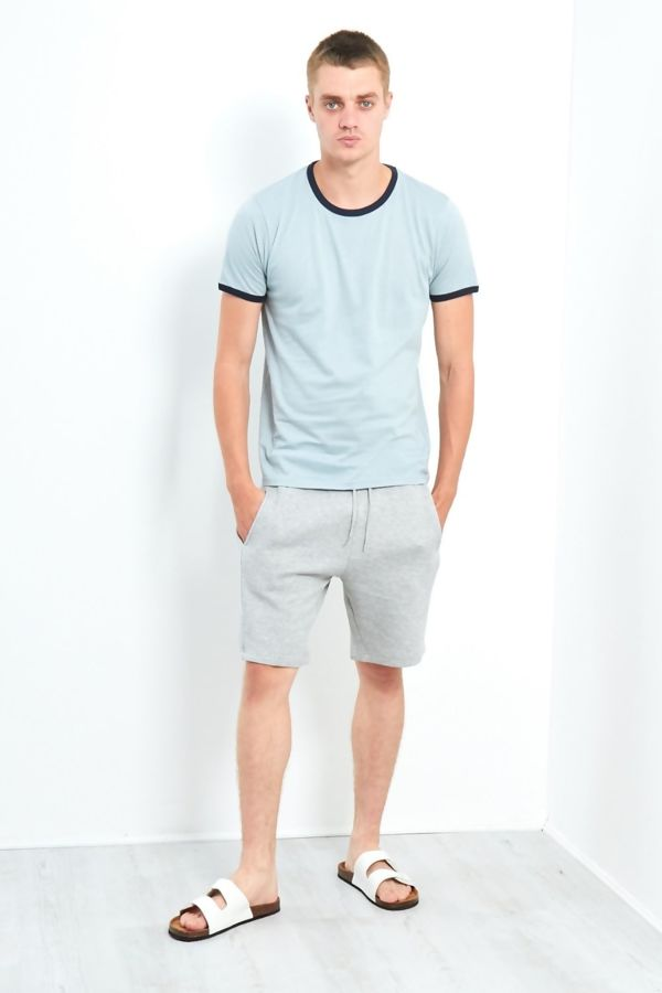 Aqua Blue Contrast Crew T-Shirt
