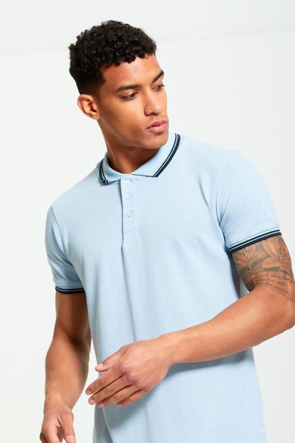 Aqua Contrast Block Polo T-Shirt