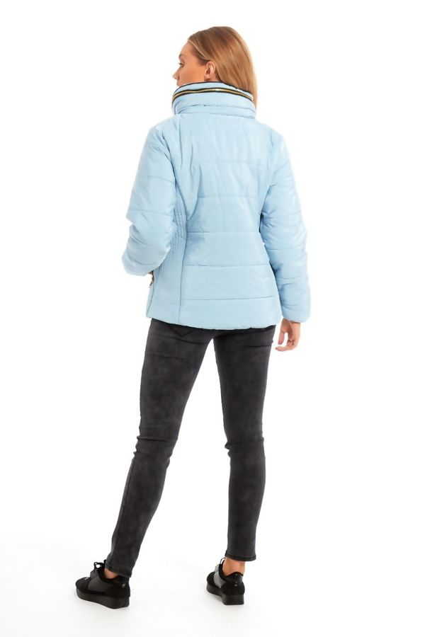 Aqua High Neck Padded Puffer Quilted Jacket