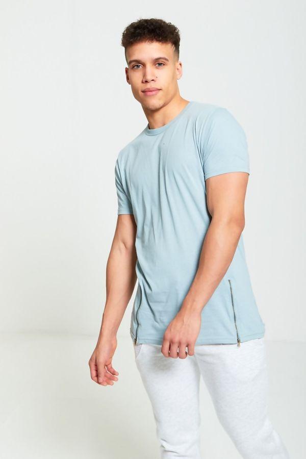 Aqua Longline Zipper T-Shirt