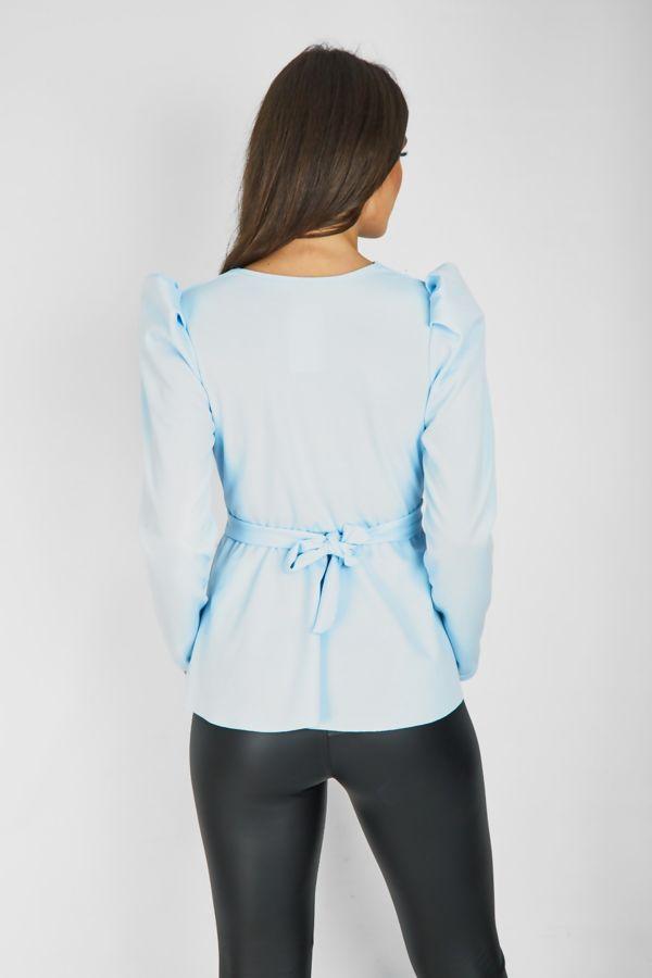 Aqua Puff Shoulder Back Knot Belted Blouse
