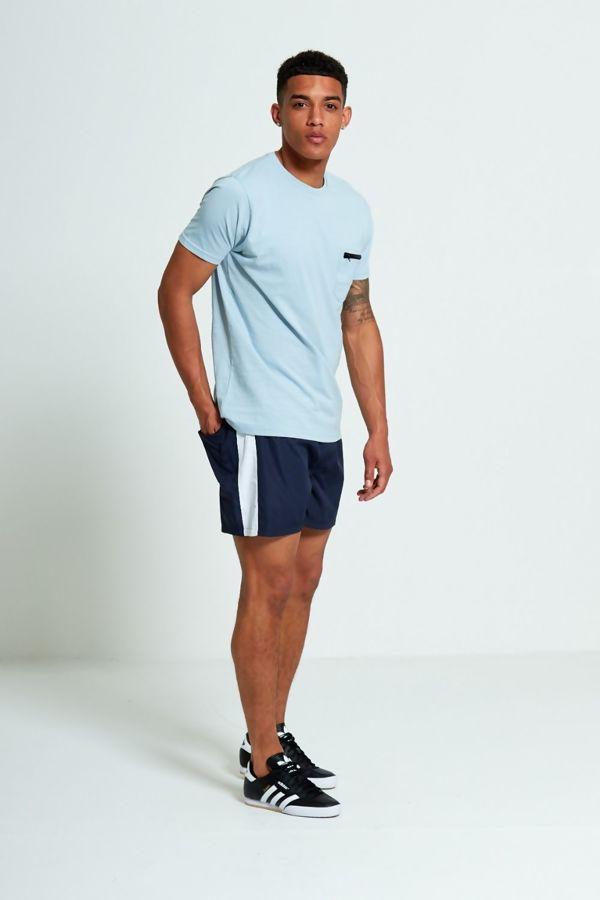 Aqua Zip Detail Chest Pocket T-Shirt