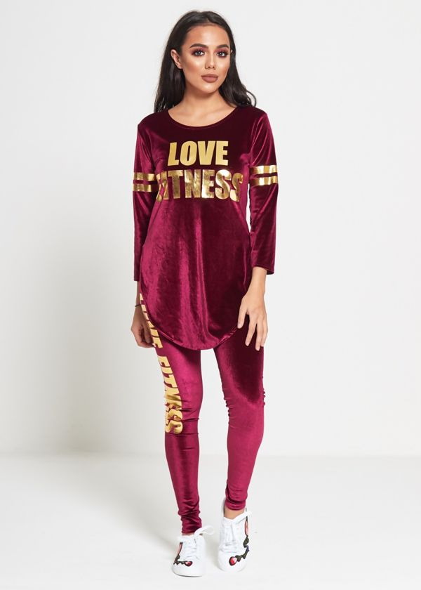 Plus Size Wine Love Fitness Suede Tracksuit