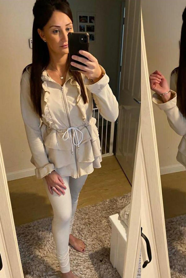 Frill Detail Zip Front Hooded Loungewear Set