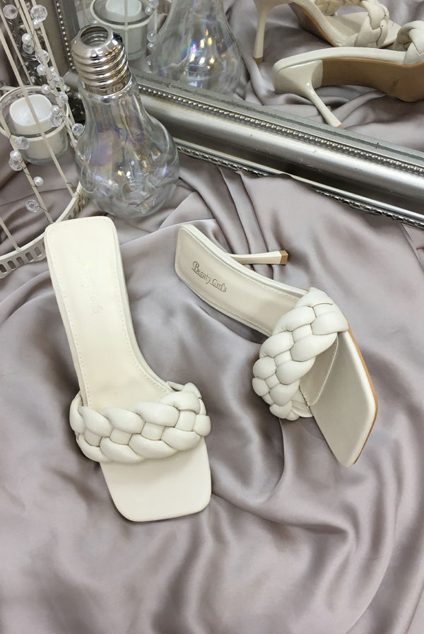 Apricot Plaited Square Toe High Heel Mule