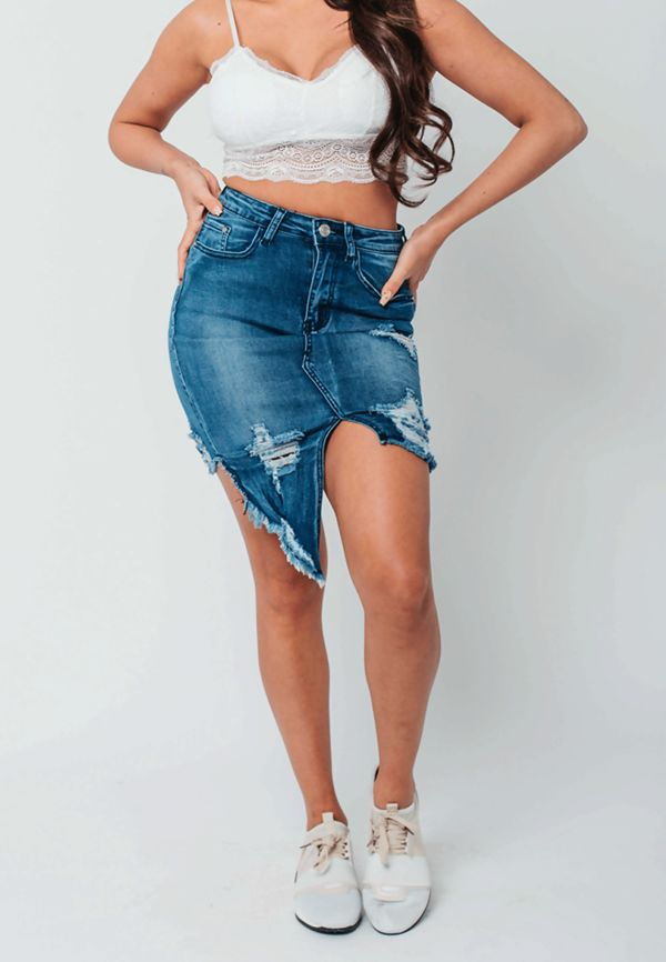 Asymmetry Denim Distressed Hem Skirt
