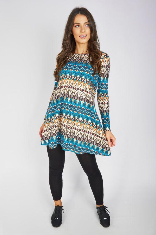 Aztec Print Swing Mini Dress