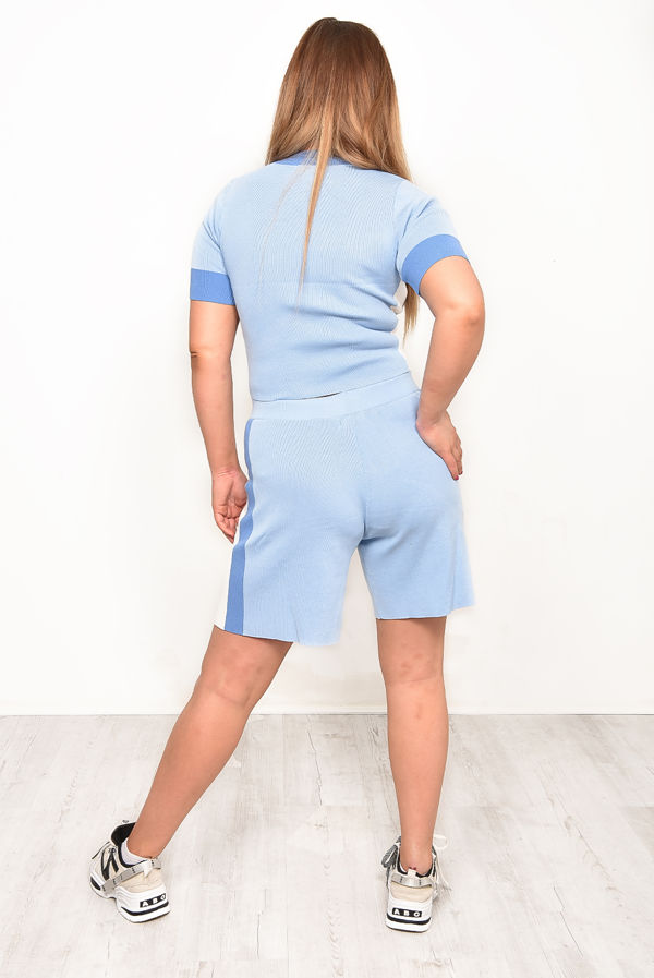 Baby Blue Premium O-Ring Zip Front Color Block Soft Knit Co-ord