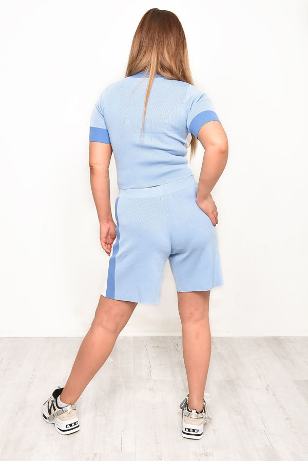 Pink Premium O-Ring Zip Front Color Block Soft Knit Co-ord