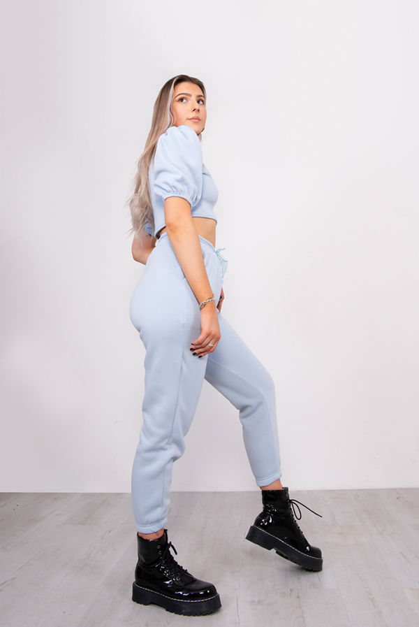 Baby Blue Puff Sleeve Cropped Top And Jogger Lounge Set