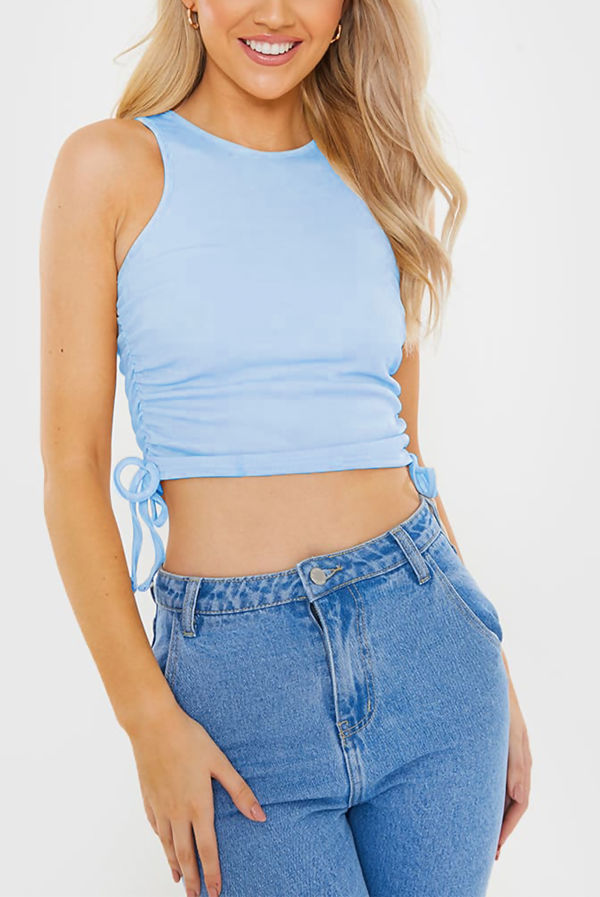 Baby Blue Ribbed Ruched Side Crop Top