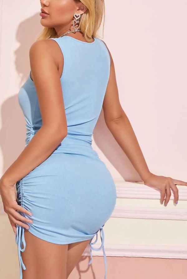 Baby Blue Ribbed Side Ruched Drawstring Bodycon Dress