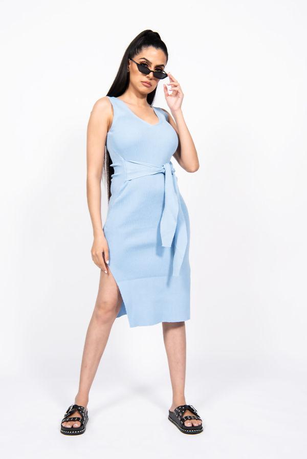 Baby Blue Ribbed Tie Wait Dress