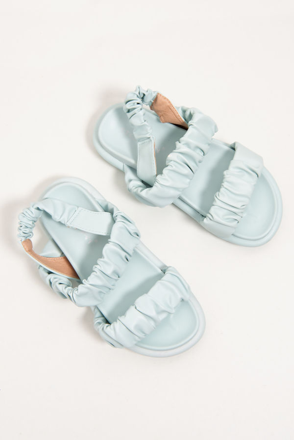 Baby Blue Ruched Double Strap Slides