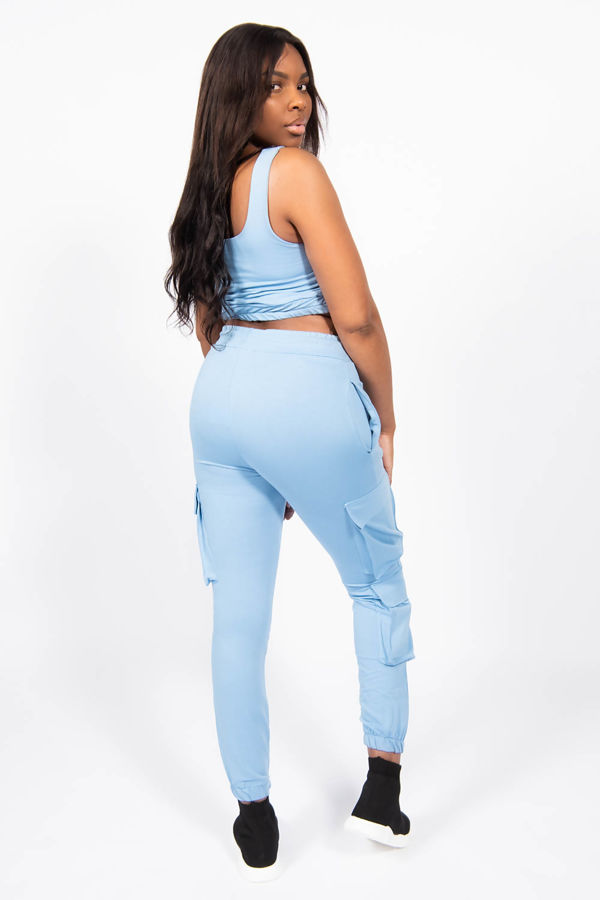 Baby Blue Two Piece Cargo Lounge Set