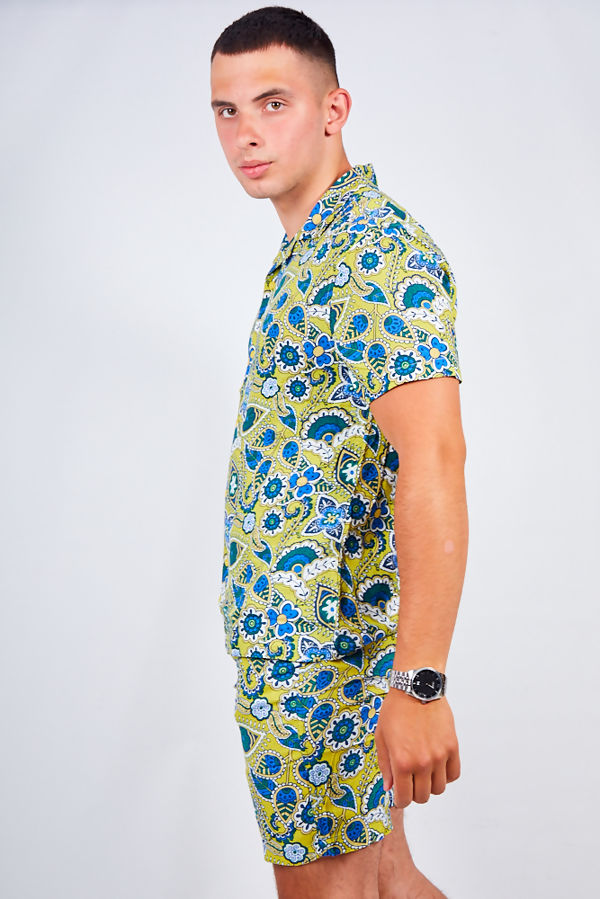 Baroque Floral Print Shirt and Swim Short Set