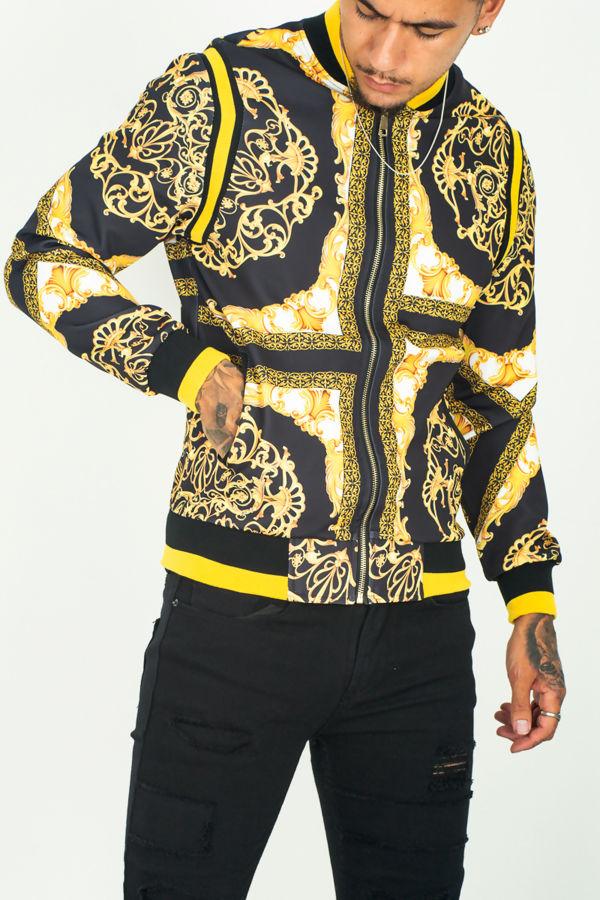 Baroque Print Bomber Jacket